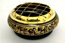 "Black Carved Brass Screen Charcoal Burner 2.75""D 1.75""H w/ Wooden Coaster"