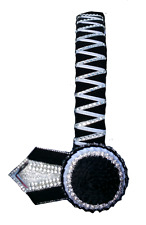 Browband Sharktooth Black n Black carnations white silver by Starlight Browbands