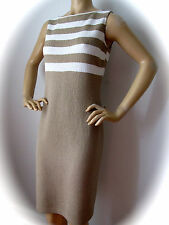 NEW ST JOHN KNIT 4 WOMENS DRESS TAN TERRA SAND & BRIGHT WHITE BOUCLE WOOL RAYON