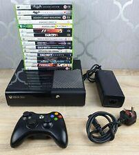 MICROSOFT XBOX 360 E Console Bundle ~ 1 Official Controller ~ 16 Good Games