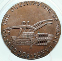 1796 ENGLAND Gloucestershire Badminton Conder SHIP 1/2 Penny PCGS Coin i83994