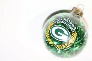 Green Bay Packers Clear w/ Tinsel Glass Bulb Christmas Ornament - FREE Shipping!