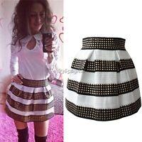 Women fashion black and white striped Short Mini Skirt Rivet skirt Bubble Skirts