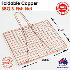 2x Outdoor BBQ Fish Meat Barbeque Net Foldable Hand Held Grill Mesh Wire Clamp