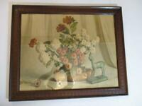 "Lovely Antique 24"" x 30"" Floral Art Print In A Nicely Detailed Mahogany Frame"