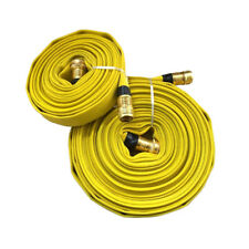 Forestry Grade Lay Flat Fire Hose Withbrass Fittings Garden Thread Yellow 250 Psi
