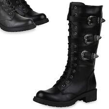 Damen Schnürstiefel Biker Boots Schnallen Metallic Stiefel 819147 Top