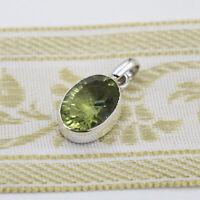Grünquarz Anhänger Silber 925 Kettenanhänger Sterlingsilber oval modern grün ts