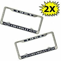 51 1951 Chevy car truck Chrome license plate frame Blue Bowtie NOS V8 LS Pair X2