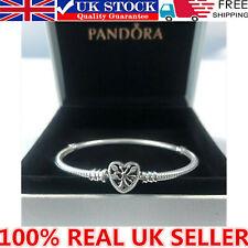 UK Genuine Silver Pandora Moments Family Tree Heart Clasp Snake Chain Bracelet