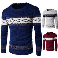 Fashion Men's Knitted Polo Round Neck Skivvy Pullover Wool Sweater Jumper Tops'i