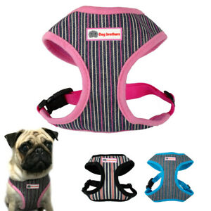 Nylon Mesh Striped Dog Harness Leash Set Pet Puppy Small Medium Dog Walking Vest