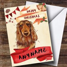 Watercolour Rustic Dog Long Haired Dachshund Personalised Christmas Card