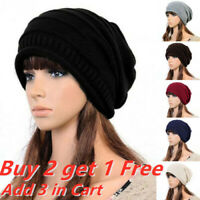 Women Winter Warm Knitted Slouch Oversized Beanie Hat Cosy Baggy Ski Thermal Cap