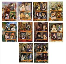 2017  RENOIR 20 SOUVENIR SHEETS MNH UNPERFORATED ART PAINTINGS