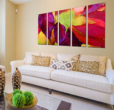 Autumn forest print on canvas, forest wall art leaf canvas designs 5 panel print