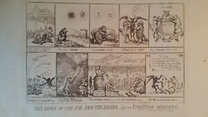 1784 / 1825 SATIRICAL PRINT - LOVES OF THE FOX AND BADGER - THOMAS ROWLANDSON