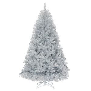 6Ft Hinged Unlit Artificial Silver Tinsel Christmas Tree Holiday w/Metal Stand