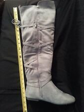 BRAND NEW PAIR OF BOOTS  OVER THE KNEE  GREY  SUEDE SIZE 7 1/2