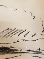 "JOSE TRUJILLO - Original Charcoal Paper Sketch Drawing 12"" Modern - Clouds Sky"