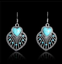 Turquoise Heart Earrings, Antique Silver Vintage Style
