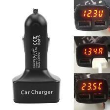Dual USB Car Charger Adapter Voltage Current 5V 3.1A Celsius Temperature Tester