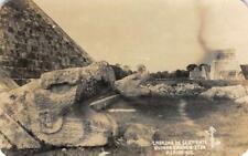RPPC Cabezas de Serpiente Ruinas Chichen Itza, Mexico c1950s Vintage Postcard