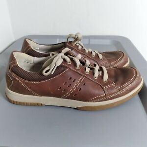 Clarks Wavewalk Men's Size 9.5M Shoes Brown/Beige Leather Lace Up Casual Sneaker