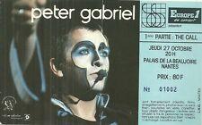 RARE / TICKET BILLET DE CONCERT - PETER GABRIEL LIVE A NANTES ( FRANCE ) 1983