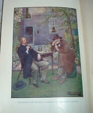 1919 Color Print Lord Alfred TENNYSON & THOMAS CARLYLE IN HIS GARDEN J R Skelton