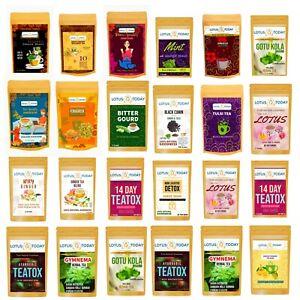 Lotustoday Herbal Tea Selection 21 Tea Bags Pack Natural Organic Green Detox Tea