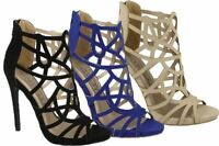 Ladies Womens Sandals Stiletto Heel Cut Out Gladiator Zip Shoes Size