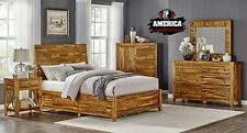 Solid Acacia Wood Bed King or Queen Bedroom Set Furniture