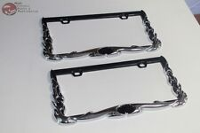 Chrome Flames Custom Rear Front License Plate Frames Hot Rat Street Rod Truck