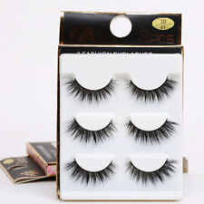 3Pair 3D Black Natural Bushy Cross False Eyelashes Mink Hair Handmade Eye Lashes
