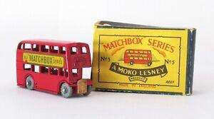 Vintage Lesney Moko Matchbox #5-B London Bus Metal Wheel N MINT IN BOX 1957