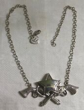 "Rock Rebel Silvertone Metal Link Chain Gun Pistols Star Pendant 19"" Necklace"