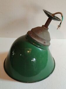 Vintage 12 Inch Industrial Green Porcelain Light Crouse Hinds  Gas Oil