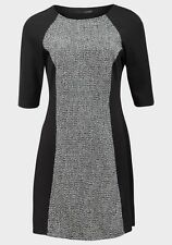 NEW  Ladies  Atmosphere Black & Grey Fit & Flare Midi Dress Size 10