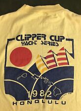 Vintage Mens M 1982 Clipper Cup Honolulu Hawaii Yacht Series Yellow T-Shirt
