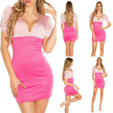 Mini abito donna rosa estivo maniche corte vestito corto ragazza scollato