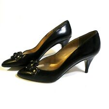 Patricia Lynne Women's Vintage Leather Pumps Size 6 M Black Metallic Gold Spain
