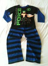 DISNEY STORE EXCLUSIVE Phineas & Ferb Pyjamas PJs VGC Age 5-6 Blue/Black Cotton