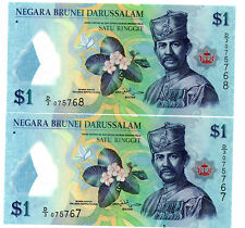 Brunei Polymer  Banknote UNC 2pcs Running Number