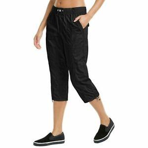 Calvin Klein Womens Black Printed Smocked Waistband Cargo Pants Size Large $59