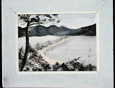 Japanese ink impressive painting  on board frame Pines surrounds among the beach