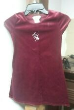 California Concepts Girls Size 7 Dress Red Maroon Velour Style Short Sleeves