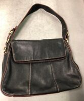 ETIENNE AIGNER FOLD OVER black Pebble Leather Shoulder Bag