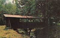 GILMER COUNTY GEORGIA COVERED BRIDGE~ELLIJAY RIVER~PICNIC GROUNDS POSTCARD 1960s