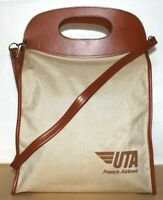 ❤️UTA French Airlines Khaki Canvas Vinyl Tote Shoulder Bag Vintage NEW! L@@K!